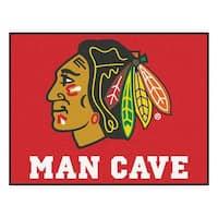 NHL Chicago Blackhawks Man Cave All-Star Rectangular Mat Area Rug