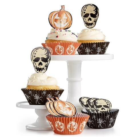 Martha Stewart Collection Halloween Cupcake Liners Toppers - Orange - Small