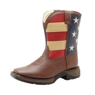 "Durango Western Boot Boys 8"" Union Flag Steel Shank Rocker Brown"