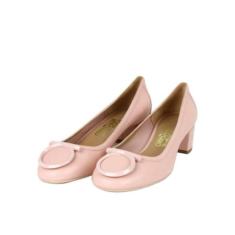 Salvatore Ferragamo Women's Ena Pastel Pink Leather Horsebit Pump 659175 (10 M)