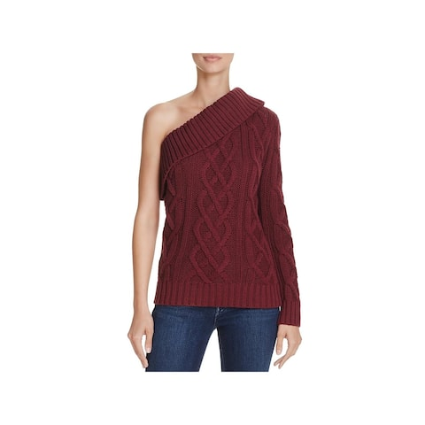 Endless Rose Womens Sweater One-Shoulder Cable Knit