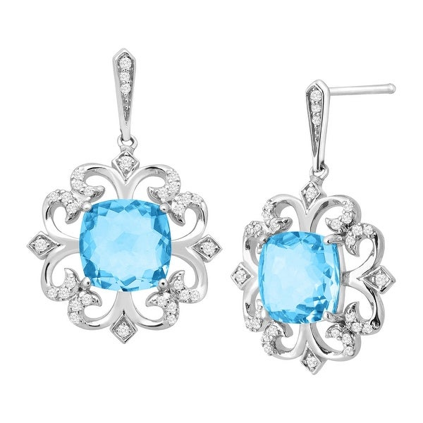 3 1/10 ct Natural Swiss Blue Topaz & 1/5 ct Diamond Drop Earrings in Sterling Silver