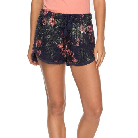 Roxy Blue Pink Womens Size XS Floral Tassel Earth Sheer Shorts