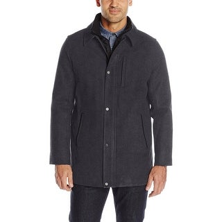 Calvin Klein CK Mens Wool Blend Bib Layered Car Coat Charcoal Medium M