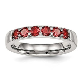 Stainless Steel Polished Red CZ 4 mm Band Ring