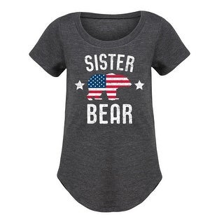 Sister Bear Patriotic - Youth Girl Short Sleeve Curved Hem Tee (4 options available)