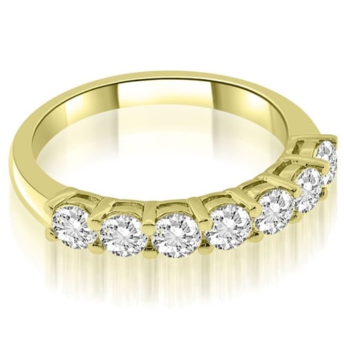 1.05 cttw. 14K Yellow Gold Classic Basket Round Cut Diamond Wedding Band