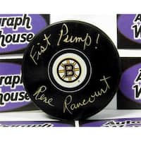 Rene Rancourt Autographed Hockey Puck Boston Bruins Inscribed Fist