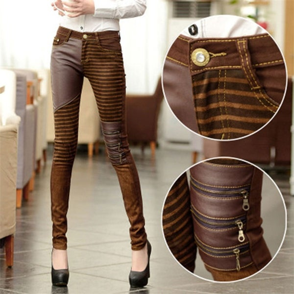 ca63d6e72d46b High Waist Jeans For Women PU Leather Pants Autumn Elastic Jean With  Leather Pencil Pants Trousers