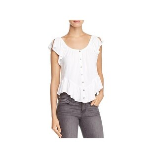 We The Free Womens Mint Julep Button-Down Top Butterfly Sleeves Peplum
