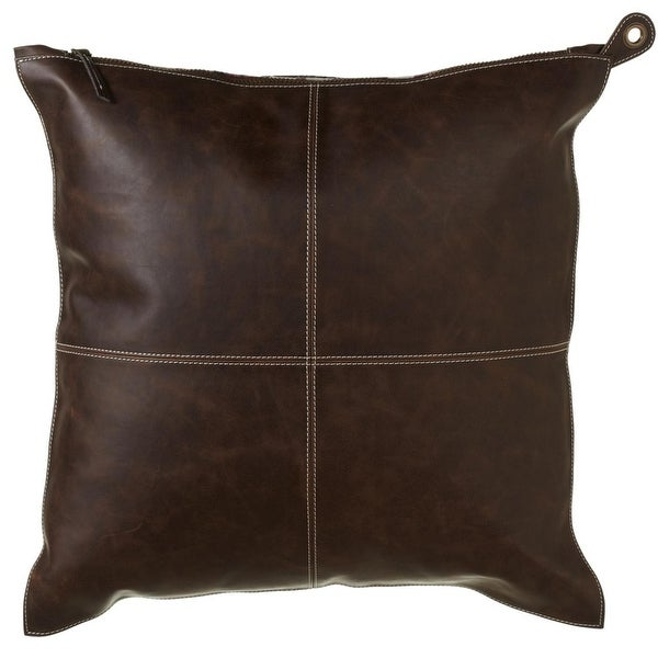 """Set of 2 Brown Plaid Patterned Decorative Square Throw Pillows with Zipper Closure 20"""""""
