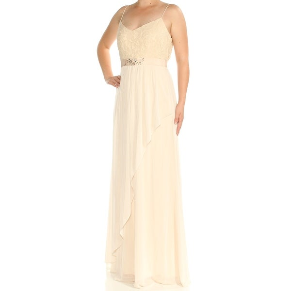 532edba3c335 Shop ADRIANNA PAPELL Womens Beige Lace Embellished Spaghetti Strap V Neck  FullLength Empire Waist Evening Dress Size: 8 - Free Shipping On Orders  Over $45 ...