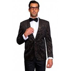 MZV-405 BLACK Men's Manzini Fancy Paisley design Velvet, sport coat