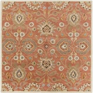 Surya CAE1107-4SQ Caesar 4' Square Wool Hand Tufted Traditional Area Rug - Orange