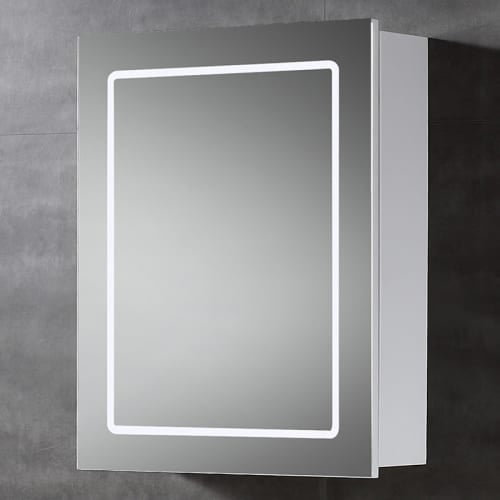 "Miseno MBC2428LED 20""W x 24""H Single Door Reversible Hinge Mirrored Medicine Cabinet for Surface Mount Installations with LED"