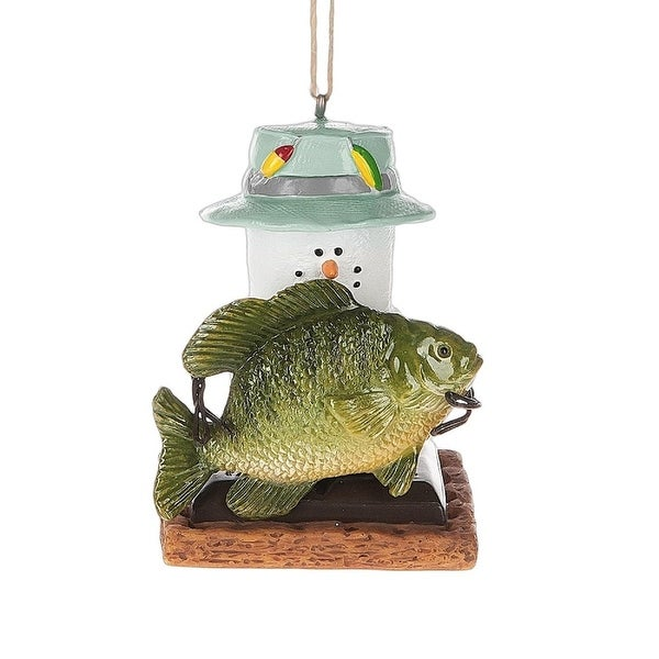 "2.75"" S'mores Fishing Marshmallow Christmas Ornament"