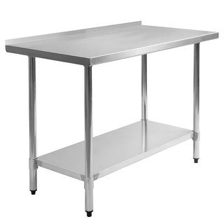 Costway 24'' x 48'' Stainless Steel Work Prep Table with Backsplash Kitchen Restaurant
