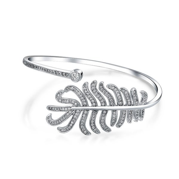 bffffeda55f Boho Fashion Cubic Zirconia CZ Pave Bypass Leaf Feather Statement Bangle  Bracelet For Women For Prom