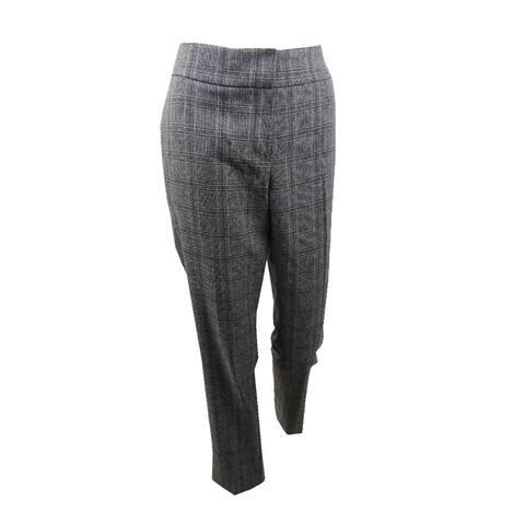 Kasper Women's Plaid Straight-Leg Pants - Fir Green Multi