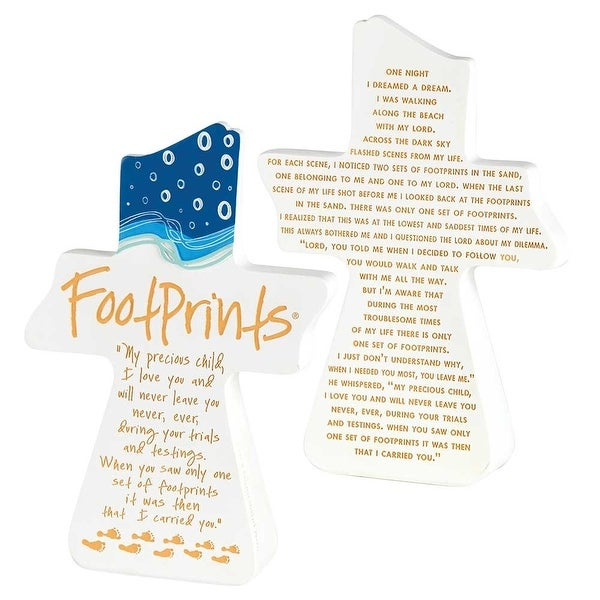 "Footprints In The Sand Poem White Tabletop Resin Cross 8"" x 1"" - other-frame-size"