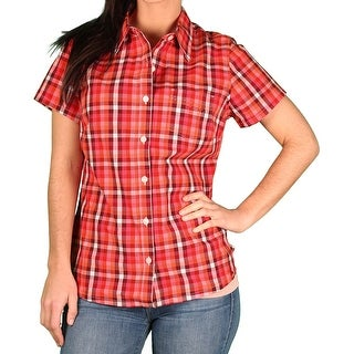 Dickies Womens Stretch Poplin Short-Sleeve Blouse