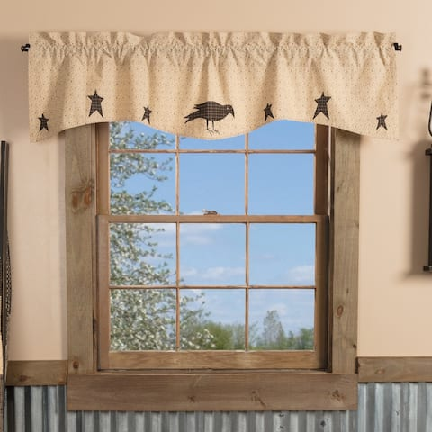 Kettle Grove Applique Crow and Star Valance 16x60 - Valance 16x60