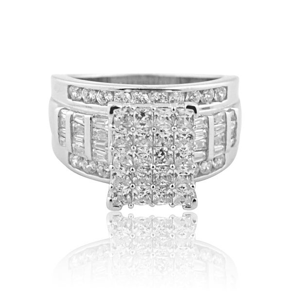 2.5ctw 3 in 1 Style Bridal Wedding Ring 14mm Wide Round and Baguette CZ Sterling Silver By MidwestJewellery