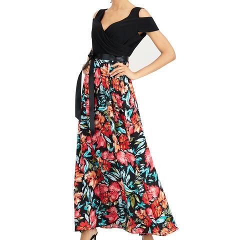 SL Fashions Women's Dress Black Size 4 Cold Shoulder Floral Print Maxi