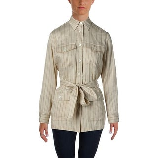 Lauren Ralph Lauren Womens Jacket Linen Striped