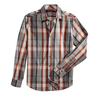 Sean John NEW Orange Grey Mens Size 4XL Button Down Woven Plaid Shirt