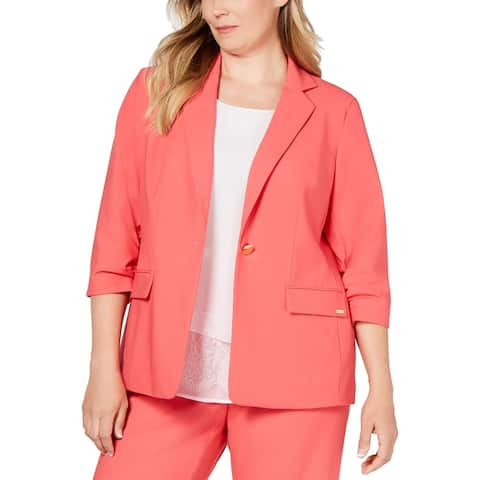 Calvin Klein Womens Plus Jacket Ruched 3/4 Sleeves - Coral
