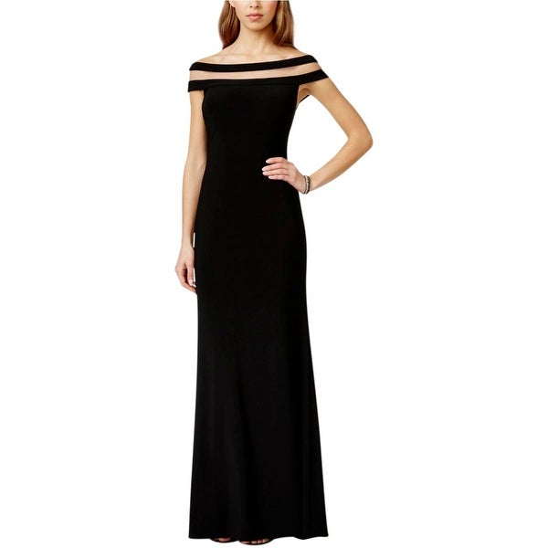 Betsy & Adam Womens Evening Dress Matte Jersey Mesh Inset