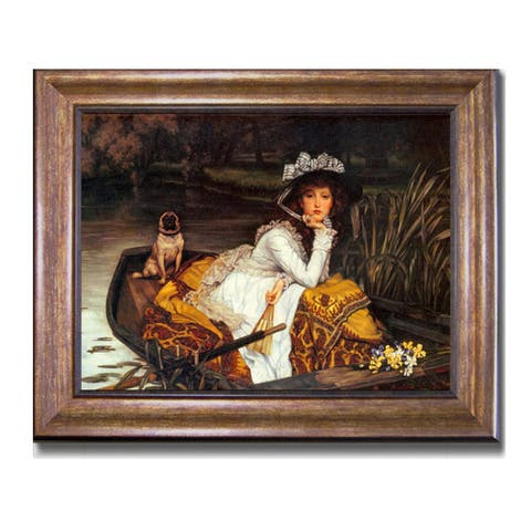 Young Lady in a Boat by James Tissot Bronze-Gold Framed Canvas Art (22 in x 28 in Framed Size)