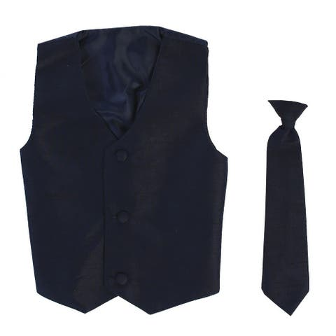 Baby Boys Navy Poly Silk Vest Necktie Special Occasion Set 3-24M