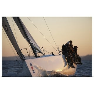 """""""Crew sitting at edge of yacht"""" Poster Print"""