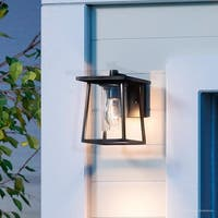 "Luxury Craftsman Outdoor Wall Light, 9""H x 6.5""W, with Industrial Style, Cube-Like Showcase Design, Black Silk Finish"