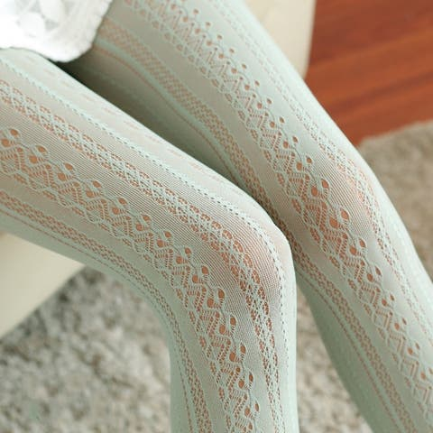Sexy Fishnet Hollow Out Lace Vertical Strips Pantyhose Tights Women Stockings