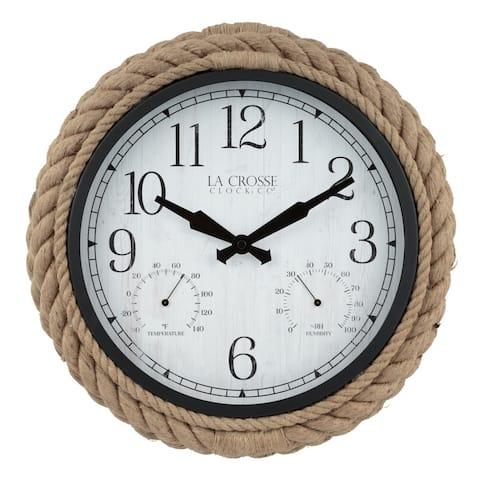 "La Crosse Clock 433-3836 14"" Rowan In/Outdoor Rope Quartz Wall Clock"