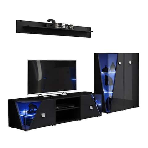 Edge Set TV-CUR-SH Modern Wall Unit Entertainment Center