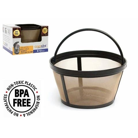 GoldTone Reusable 8-12 Cup Basket Filter Replacement Fits ALL Mr. Coffee Machines and Brewers, BPA Free (1 Pack)