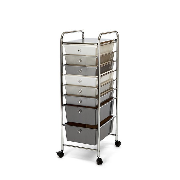 Seville Classics 8-Drawer Storage Bin Organizer Cart, White/Gray/Black Gradient. Opens flyout.