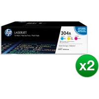 HP 304A Original LaserJet Toner Tri-Pack Cyan, Magenta & Yellow Cartridges (CF340A)(2-Pack)