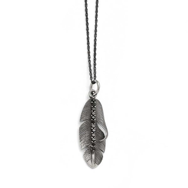 Chisel Stainless Steel Polished/Antiqued Feather with Black CZ Necklace - 20 in
