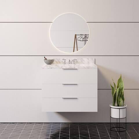 "KitchenBathCollection Oslo 30"" Floating Wall-Mounted Bathroom Vanity with Carrara Marble Top"