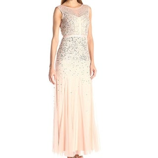 Adrianna Papell Blush Womens Sequined Mesh Gown Dress