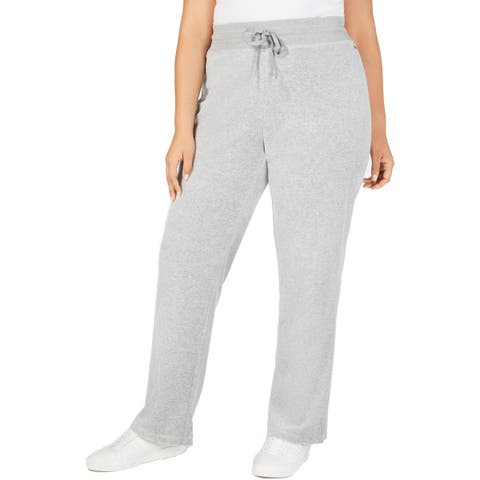 Calvin Klein Womens Plus Lounge Pants Velour Lightweight
