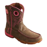 Twisted X Boots Children's YDB0001 Driving Moc Cowgirl Boot Bomber/Neon Pink Leather
