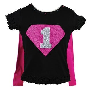 Reflectionz Baby Girls Black Fuchsia Super Girl Birthday Cape T-Shirt 12-18M