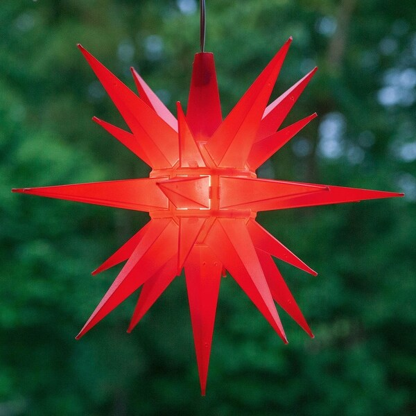 """Wintergreen Lighting 72716 Indoor / Outdoor LED Moravian Star with 60"""" Lead - RED - N/A"""