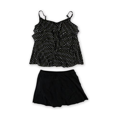 Miraclesuit Womens Dot Tiered Skirt 2 Piece Tankini